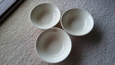 3 Bendigo Pottery Almond '1858' Collection Cereal Bowls