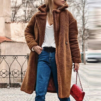 Women Winter Warm Fur Parka Jacket Solid Thick Outwear Coat Overcoat Outercoat