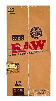 Raw Classic 1 1/2 Natural Unrefined Rolling Papers 25 Booklet Packs Brand New!