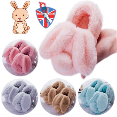Children's Rabbit Ears Plush Slippers Non-Slip Kids Boys Girls Warm House Shoes