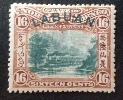 Labuan 1900 16 Cents Green & Chestnut With Green Curved Labuan Overprint Mint H