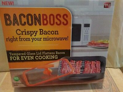 Bacon Boss Crispy Cooker From Microwave Tempered Gl Lid As Seen On Tv