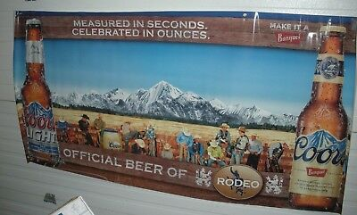 New Coors Light Coors Banquet Beer PRCA Rodeo 6 FT Vinyl Banner with Cowboys