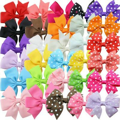 "30 Pcs Baby Girls 6"" Huge Boutique Hair Clip Grosgrain Ribbon Bows Kids Toddlers"