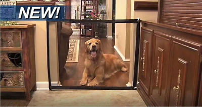 Magic Mesh Pet Dog Gate Door Barrier Safe Guard Fence Enclosure Easy Install BK