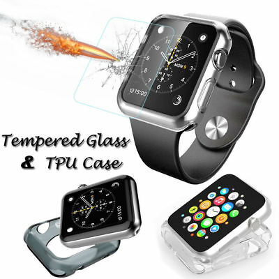 For Apple Watch Series 4 40/44mm Clear TPU Case+Tempered Glass Screen Protectors