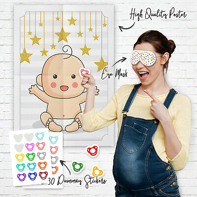 Pin the Dummy on the Baby Game Baby Shower Party Games ~ Boy Girl Unisex  (G52)
