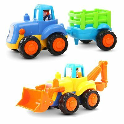 Baby Toys Push and Go Friction Powered Car  Sets of 2 Tractor Bulldozer For Kids