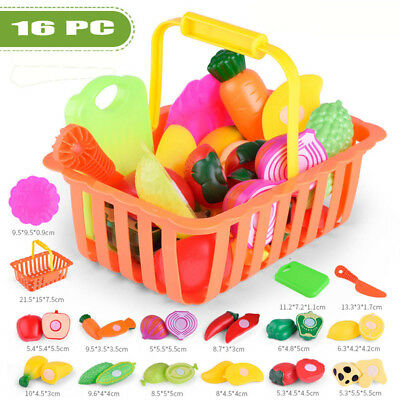 16PCS Kids Pretend Role Play Kitchen Fruit Vegetable Food Toy Cutting Gift Toy
