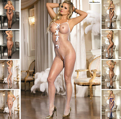 Catsuit Dessous Netz Body Fishnet Reizwäsche Body Stocking | Xs-L |H3105/1-3-Hh