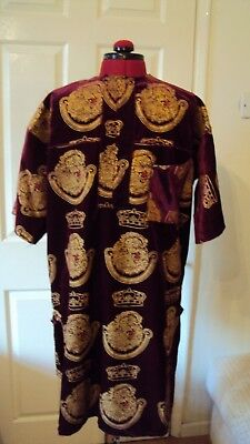 "Nigerian Igbo Traditional Groom Men's ""Isi Agu"" Loose Shirt / Top Burgundy - M"