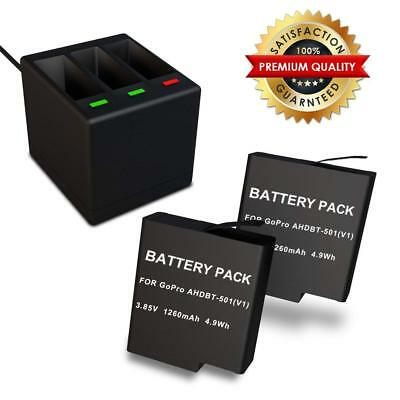 MFW Rechargeable Battery 2 Pack and 3-Channel Charger for GoPro HERO 5, HERO 6