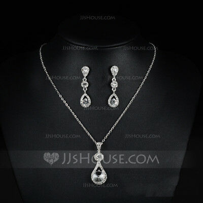 Silver Crystal Earring Necklace Bridal Wedding Alloy Rhinestone Jewellery Set