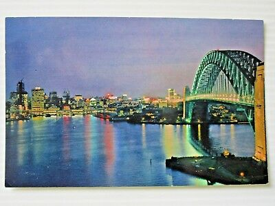 Postcard - Sydney Harbour Bridge & Skyline At Night   - Postage $1.50