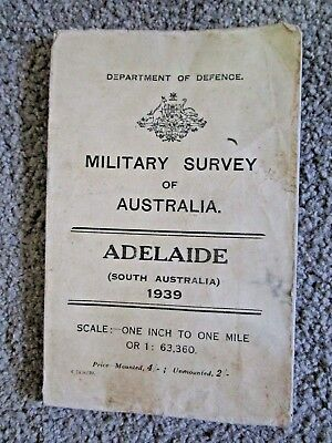 Vintage Military Survey Map Of Adelaide 1939 - South Australia 1:63,360 -$3 Post