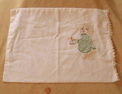Vintage Baby Pillow case CAT Embroidered KITTEN in NIGHTSHIRT Kitten Embroidery