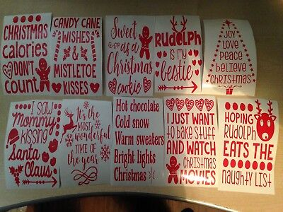 Job lot of 10 Christmas wine bottle decals - pre cut ready to post same day