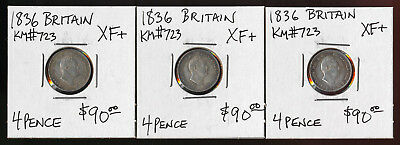 Three(3) 1836 British 4 Pence >>> Xf Silver Beauties (Must See) >>> No Reserve