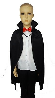Halloween Vampire Cape with Red Bow Tie Childrens Fancy Dress Costume Dracula