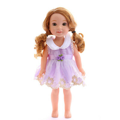 Floral Lace Skirt Dress Outfit Clothes for 14'' American Girl Dolls Purple