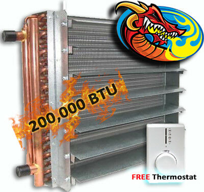 Unit Heater, Hydronic 200,000 BTU, Dragon Breath Wood Boiler *High Quality*