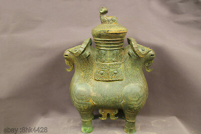 RARE China FENGSHUI OLD bronze TIGER KING FACE DOUBLE SHEEP CASE DING ZUN