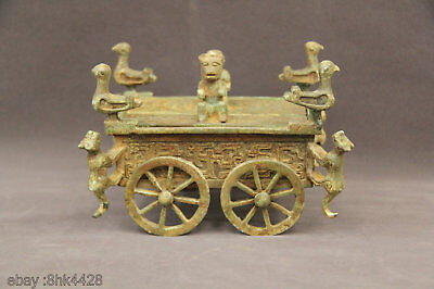 RARE China FENGSHUI OLD bronze dragon pheonix 4 wheel Transport Chariot