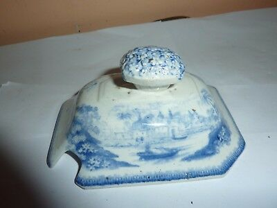 Mid 19Th Century English Pottery 10.5Cm Long Blue&white Printed Image Tureen Lid
