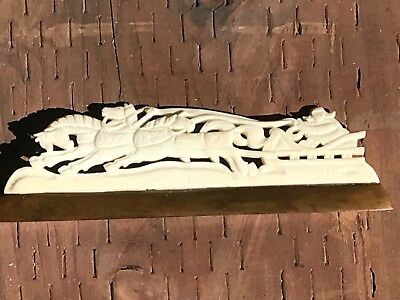 Vintage Antique Hand Carved Bovine Bone Asian Chinese Horses Pulling Sled
