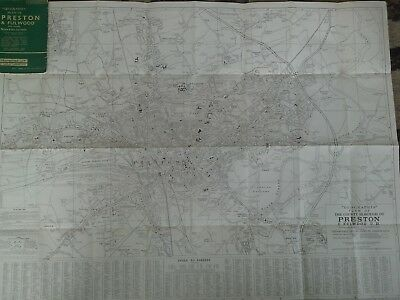 "Vintage Geographia Plan of Preston & Fulwood with Leyland 6"" to 1 mile"