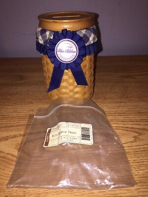 Longaberger 2003 Blue Ribbon Coin Bank Basket with Lid, Protector, and Card