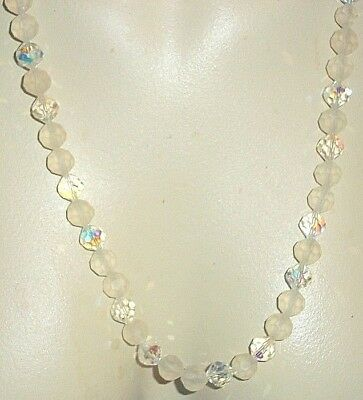 Sparkling Aurora Crystal and Frosted Glass Beaded Vintage Necklace