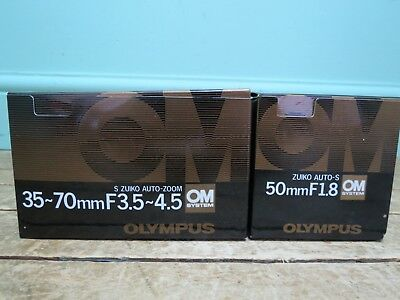 New Olympus Zuiko Auto OM System Camera Len's Bundle - 50mm & 35-70mm