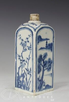Antique Chinese Blue And White Porcelain Bottle - 1600's