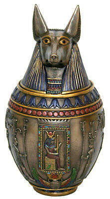 Anubis Egyptian Heiroglyphic Canopic Jar Statue Sculpture Figure