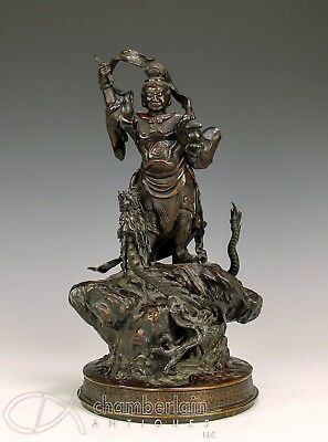 Large Finely Cast Antique Japanese Bronze Statue Of Figure With Dragon