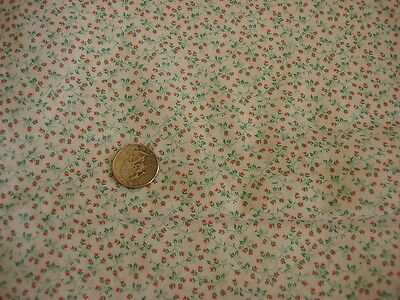 """Vintage Cotton Fabric TINY PINK FLORAL HEARTS & VINES ON WHITE 1/2 Yd/44"""" Wide"""