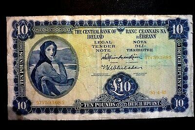 IRELAND Lady Lavery (£10.00) TEN POUNDS (PUNT) BANKNOTE ~ Dated 30-4-65