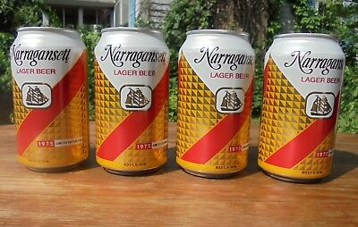 Lot of 4 Empty Retro 1975 Narragansett Lager Beer Cans 12 Ounce Jaws Quint Shark