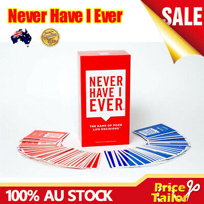OZ Stock Never Have I Ever Card Game Of Poor Life Decisions Party Board Game