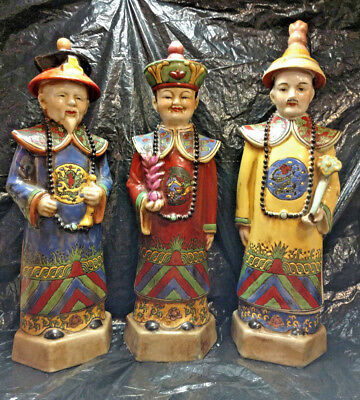 3 Stunning Large Brightly Painted Chinese Ceramic Statues