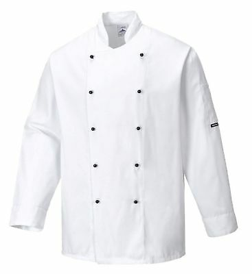 Portwest White Somerset Long Sleeve Chefs Jacket Size 4Xl C834 Chef Catering