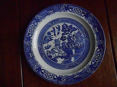 VINTAGE PLATE. WOODSWARE BY WOOD & SONS.BLUE+WHITE.`WILLOW` PATTERN.10 ins.DIA