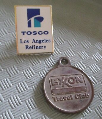 Nice 2pc TOSCO REFINERY / EXXON TRAVEL CLUB Lapel Pin & Medal Lot (AP302