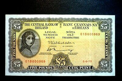 IRELAND Lady Lavery (£5.00) FIVE POUNDS (PUNT) VERY CLEAN BANKNOTE ~Dated 5-9-75