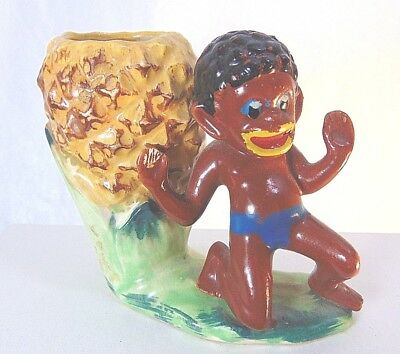 1930 C Black American Boy Pineapple Planter African Dance Vintage Americana Home