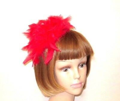 Red Chandelle Feather Fascinator Hair Clip Hat Decoration Pin Society Ladies