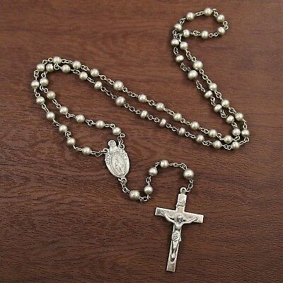 Creed Rosary Vintage Sterling Silver Religious Cross & Beads 26 g | 20""