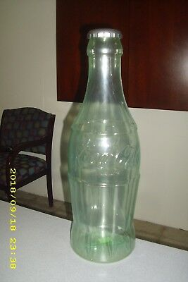 "Large 23"" Tall Green Tint Plastic Coca Cola Bottle Bank CHARITY Flexcraft"