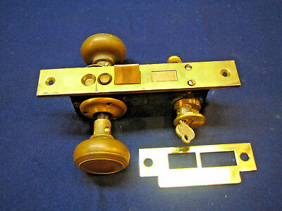 Antique Entry Mortise Lock Set w/ Cylinder & Key Brass Knobs & Plates - CORBIN